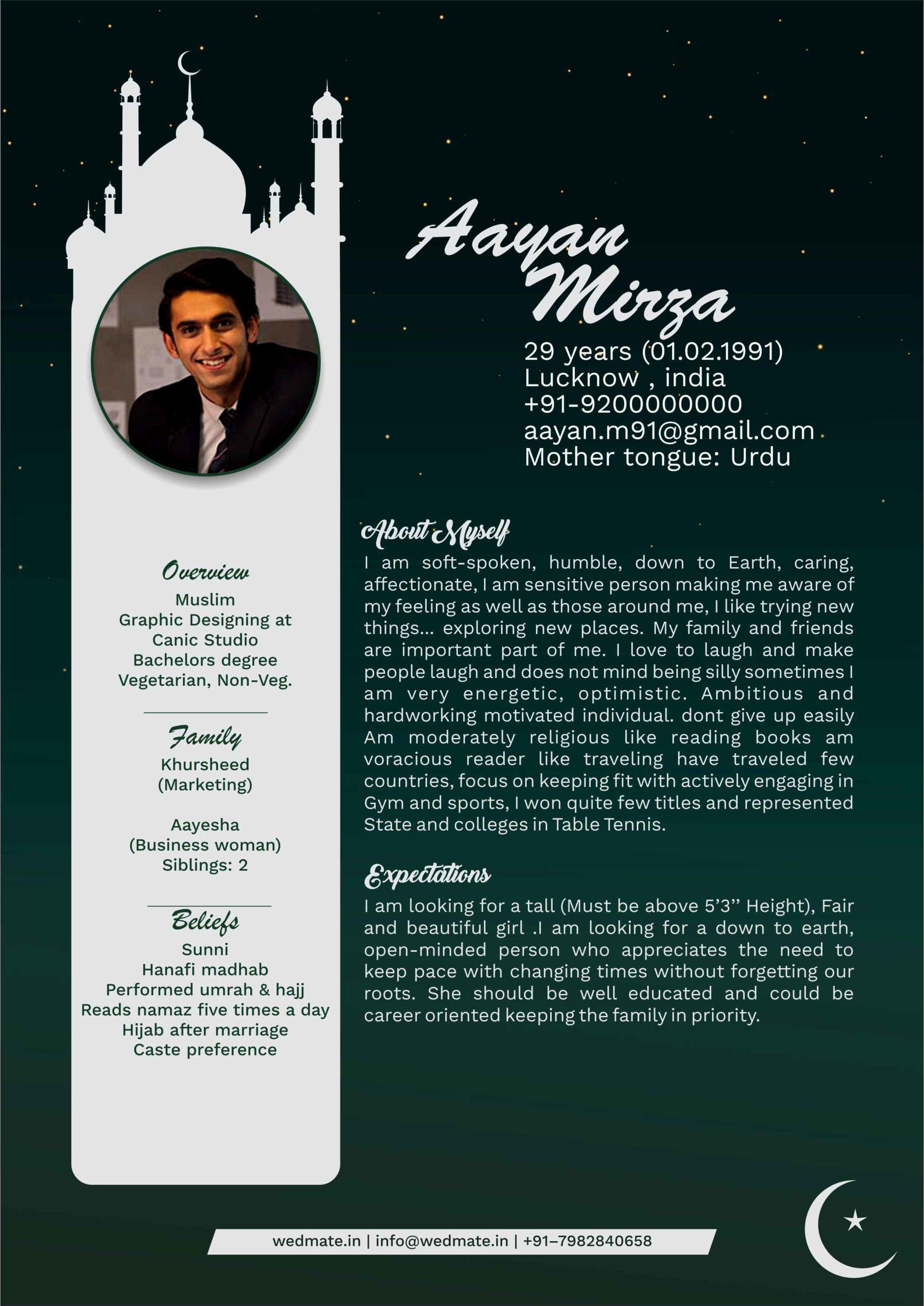 Muslim groom biodata sample